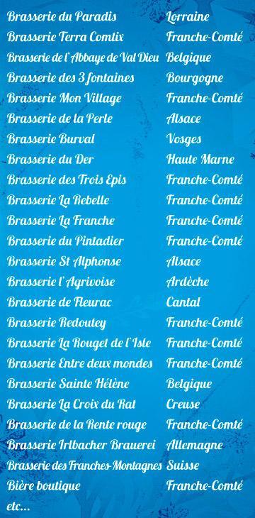 Liste des brasseurs
